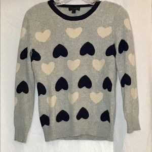 J. Crew Sweater With Hearts WMS SM